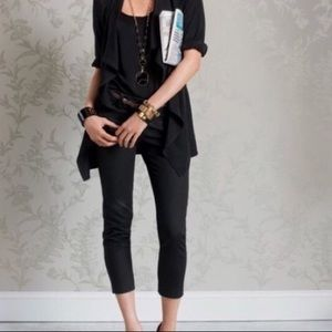 CAbi Pique Cropped Black Jean Pants